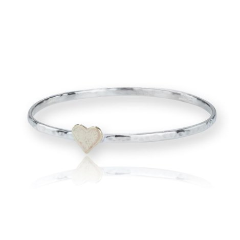 Handmade Silver and Gold Heart Bangle | Image 1
