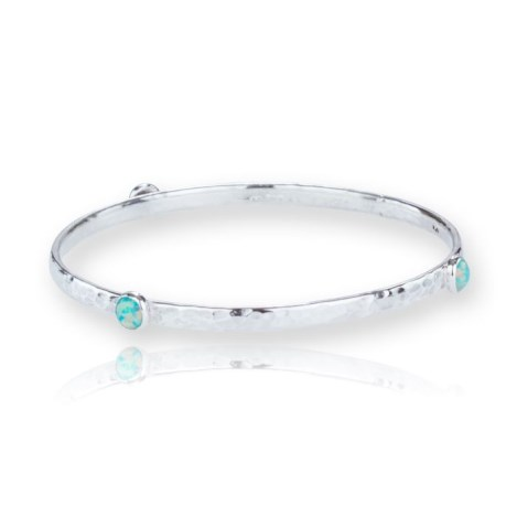 Handmade Hammered Silver Bangle with Green Opals 4mm stones | Image 1