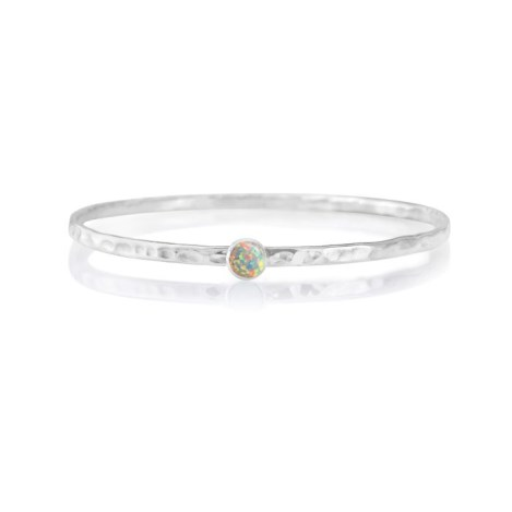 Sterling Silver white Opal Bangle  oval shape set with 6 mm stones | Image 1