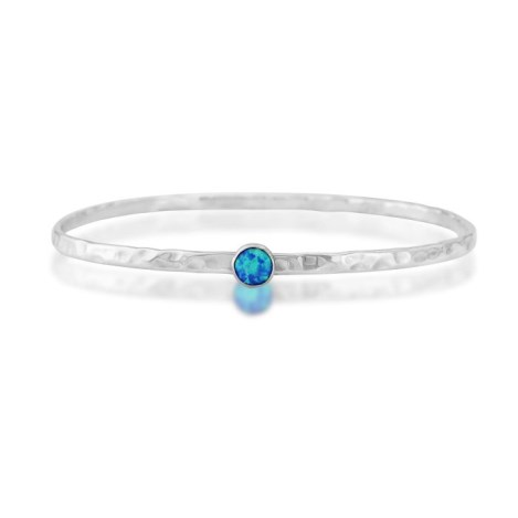 Sterling Silver Opal Bangle  oval shape set with 6 mm stones | Image 1