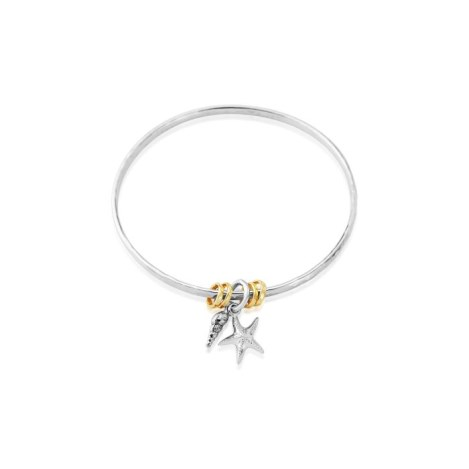 Sterling Silver and Gold Seashell/Starfish Bangle | Image 1