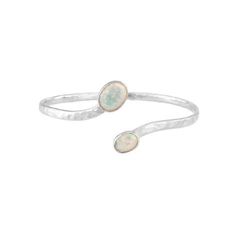 Silver Hammered Bangle with White Opal Gifts UK made | Image 1