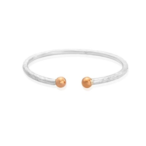 9ct Rose Gold and Medium Silver Torque Bangle | Image 1
