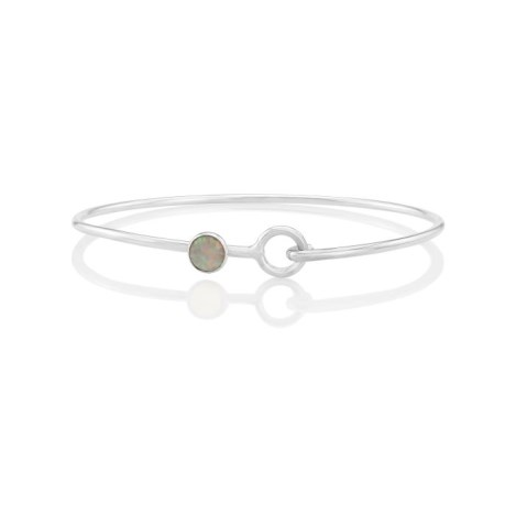 Sterling Silver white Opal Bangle oval shape set with 6 mm stone | Image 1