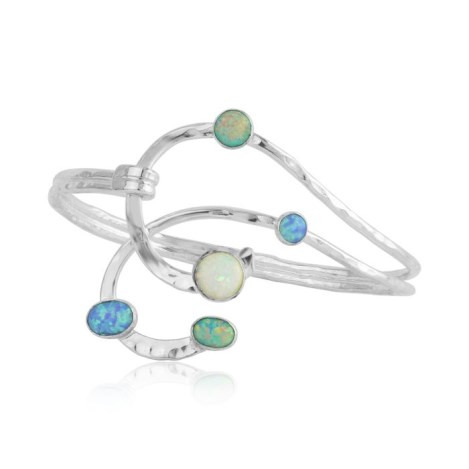 Contemporary Sterling Silver Bangle with Opals | Image 1