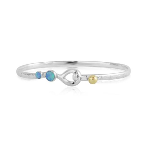 Sterling Silver Hammered Bangle with Gold Bead and Opals | Image 1