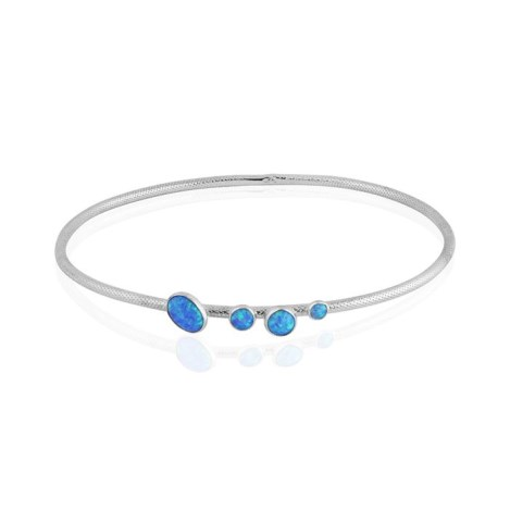 Blue opal and silver bangle | Image 1