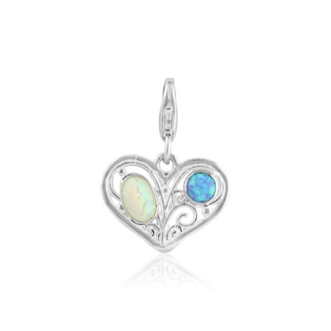 White and Blue Opal Heart Charm | Image 1