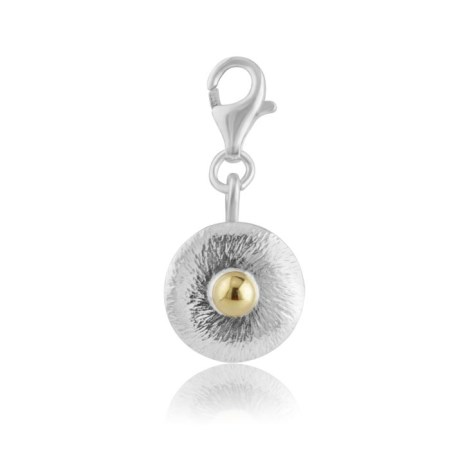Brushed silver charm with gold bead | Image 1
