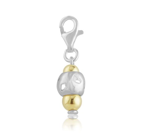 Gold and silver heart charm | Image 1