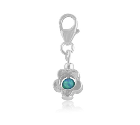 Opal and silver flower charm | Image 1