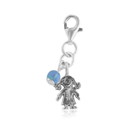 Baby girl blue opal charm | Image 1