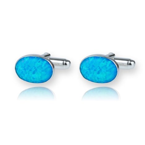 Gifts For Him Sterling Silver Designer Cufflinks with Opals made in the UK | Image 1