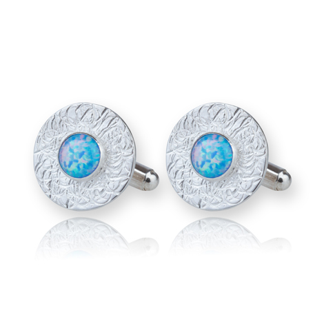 Sterling Silver Opal Cufflinks UK made | Image 1