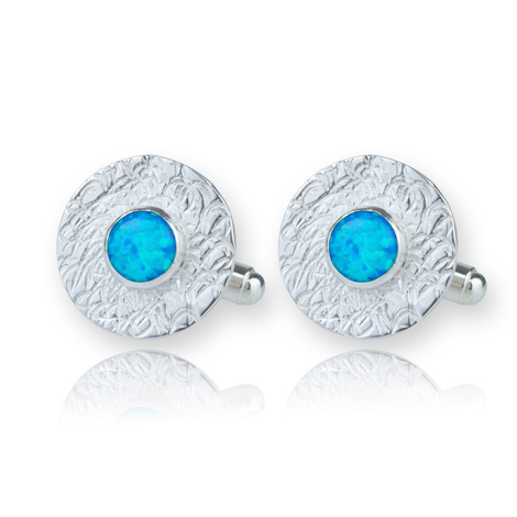 Blue Opal Silver Cufflinks S UK made Gifts For Him | Image 1