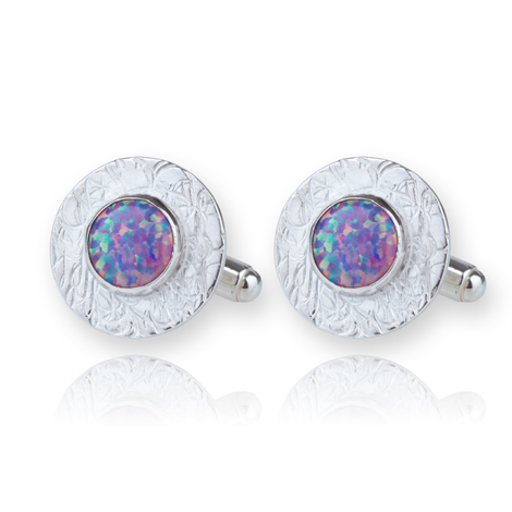 Handmade Sterling Silver Opal Cufflinks S UK made | Image 1