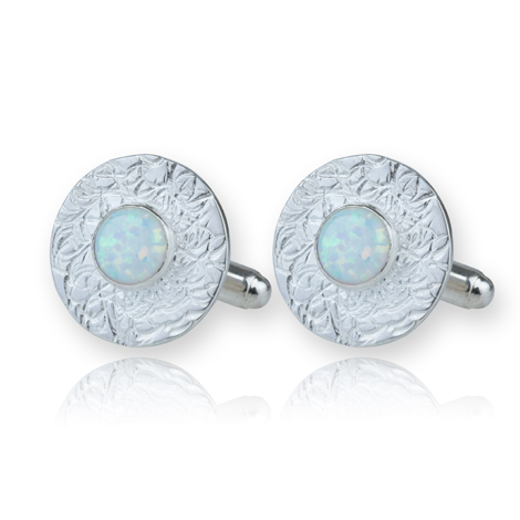 Handmade Sterling Silver White Opal Cufflinks S UK made | Image 1