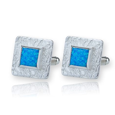Contemporary Square Silver Cufflinks with Blue Opals UK made | Image 1