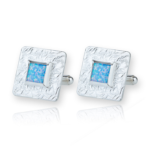 Contemporary Silver Opal Cufflinks S UK made | Image 1