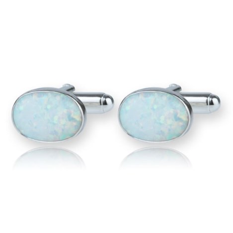 Sterling Silver Cufflink set with Green Opals UK made | Image 1