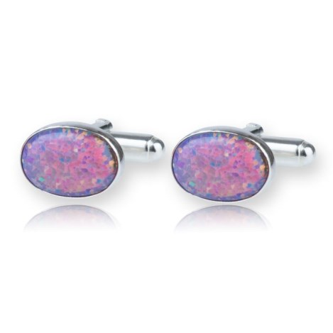 Sterling Silver Oval Cufflinks set with Purple Opals UK made | Image 1