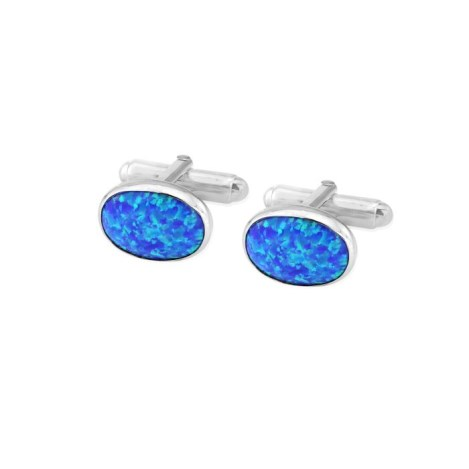 Sterling Silver Oval Cufflinks set with  Opals UK made | Image 1
