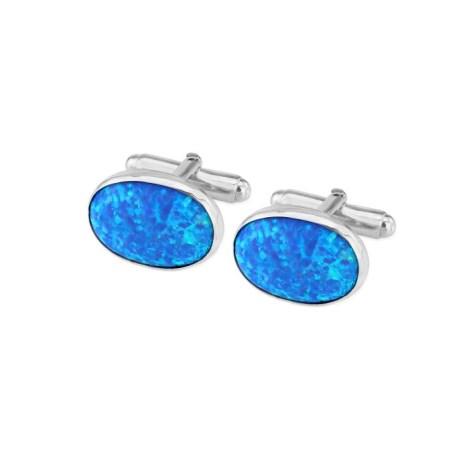 Sterling Silver Oval Cufflinks set with Large Blue Opals UK made | Image 1