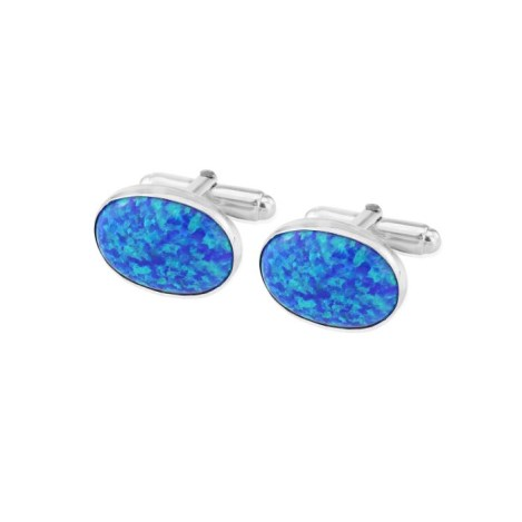 Sterling Silver Oval Cufflinks set with Large Dark Blue Opals UK made | Image 1