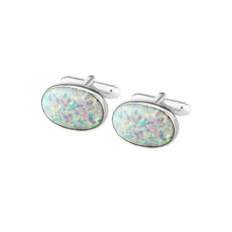 Sterling Silver Oval Cufflinks set with large White Opals UK made | Image 1