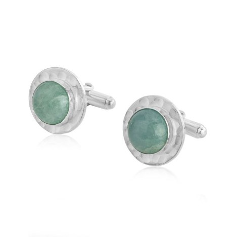 Hammered Silver Cufflinks with Aquamarine Stones | Image 1