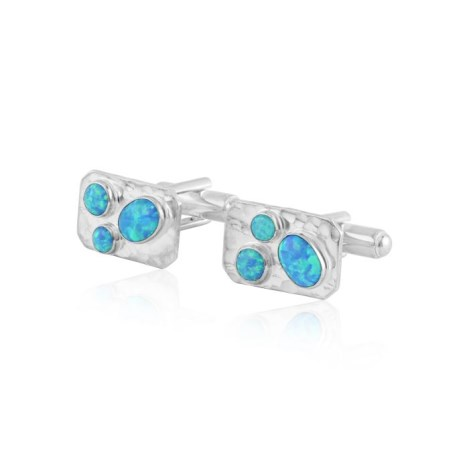 Silver and aqua opal cufflinks | Image 1