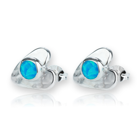 Silver Heart Blue Opal Stud Earrings | Image 1