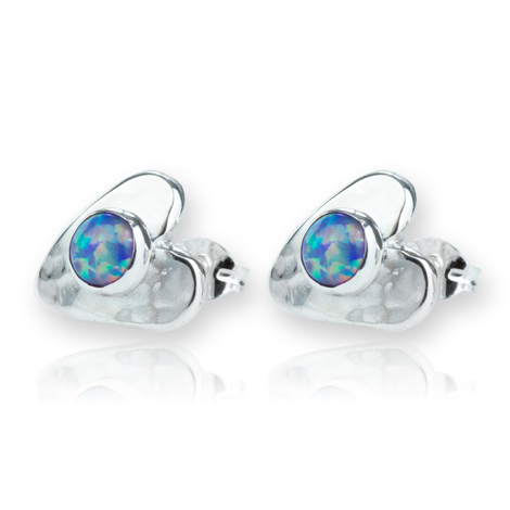 Sterling Silver Purple Opal Heart Stud Earrings | Image 1
