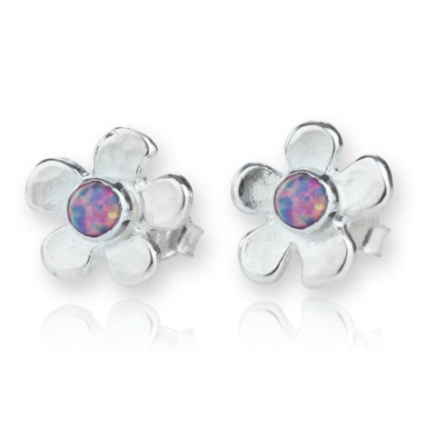 Silver Daisy Stud Opal Earrings | Image 1