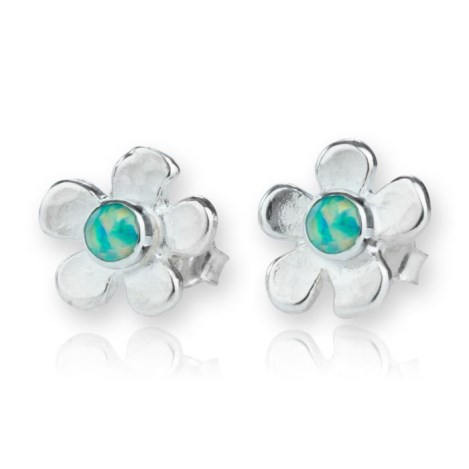 Silver Daisy Green Opal Stud Earrings | Image 1