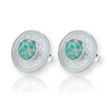 Sterling Silver Filigree Green Opal Studs  | Image 1