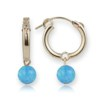 Gold Blue Opal Hoop Earrings | Image 1