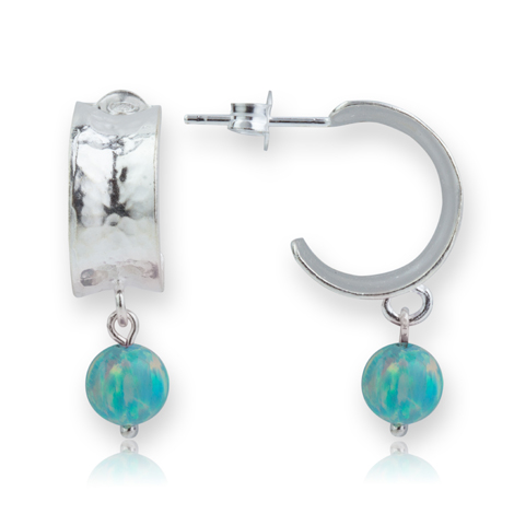 Contemporary Silver and Green Opal Hoop Earrings  | Image 1