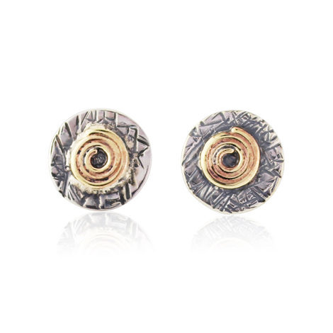 Gold and Silver Spiral Stud Earring | Image 1