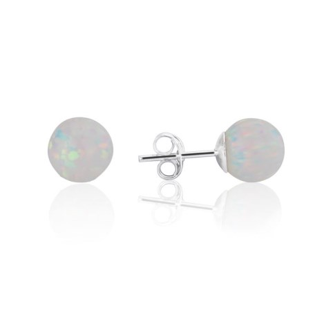 White Opal Bead 8mm Stud Earring | Image 1