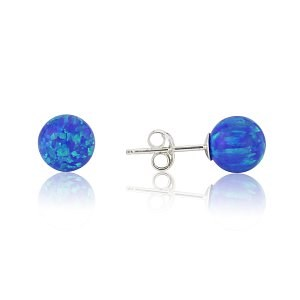 4mm Dark Blue Opal Bead  Stud Earring | Image 1