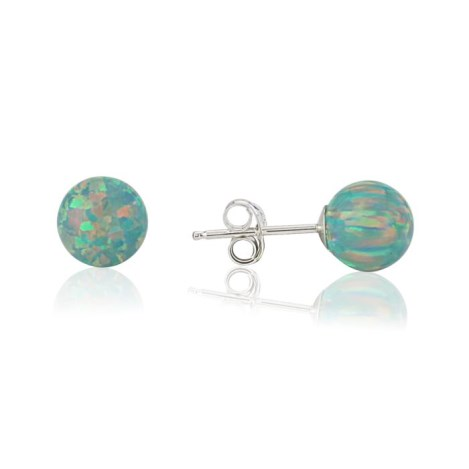 6mm Purple Opal Bead Stud Earrings | Image 1