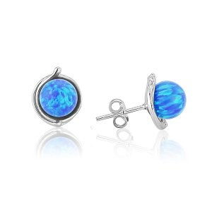 Sterling Silver Stud Earring with 8mm Blue Opals | Image 1