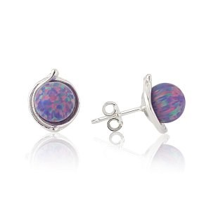 Sterling Silver Stud Earring with 8mm Purple Opals | Image 1
