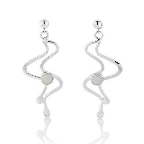 White Opal and Silver Drop Earring | Image 1