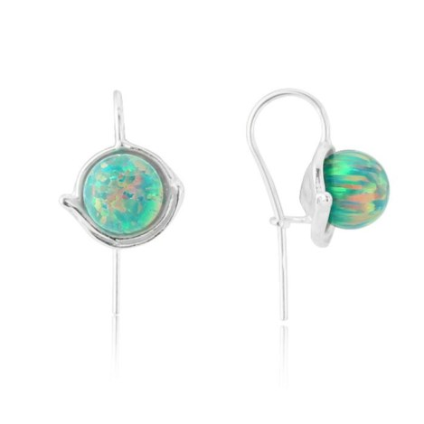 Green Opal Bead and Large Cup Drop Earring | Image 1