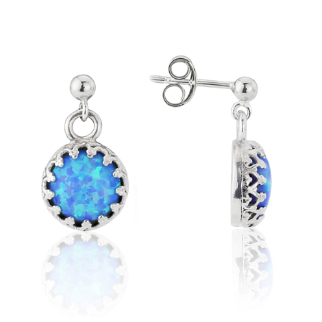 Blue Opal and Filigree Frame Drop Earrings | Image 1