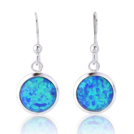 Silver and 10mm Blue Opal Drop Earring | Image 1