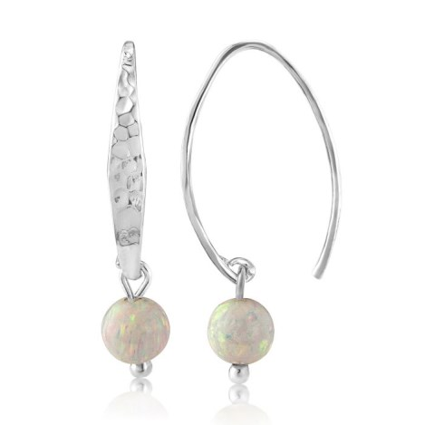 Silver Hammered Opal Drop Earrings | Image 1