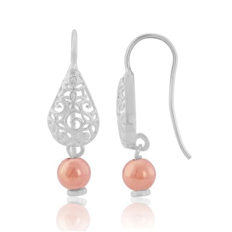 Silver and Rose Gold Filigree Teardrop Earrings | Image 1